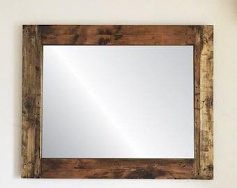 Reclaimed wood framed mirror