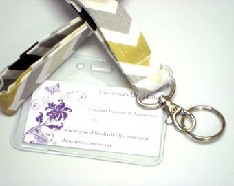 Lanyard - Key Chain / ID Holder Comes with ID Badge Cover - Chevron  River Rock Zig Zag