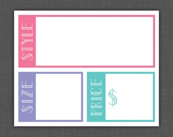 Clothing Sign, Size Card, Style Name Card, Price Card, Combo - BLANK - 8x10 Printable