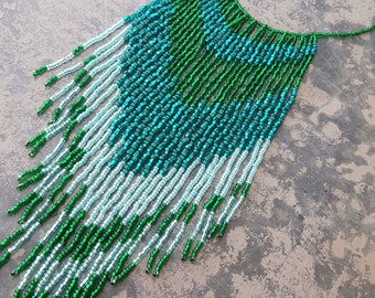Long green and turquoise fringe necklace