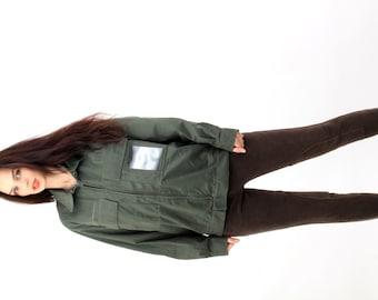 Military Khaki Cotton Jacket / Army Jacket / Cargo Jacket / Camo jacket / Scout Jacket / Olive Green Jacket / Size M hzNZvE