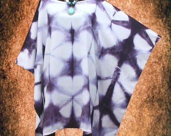 Shibori Hand dyed Wearable Art Plus Size Blouse Poncho Top Tunic