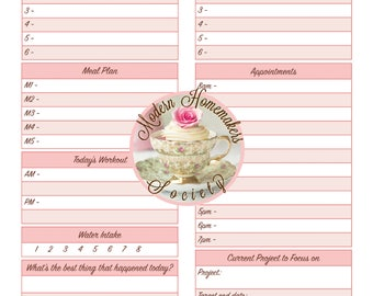 Homemaker's Daily Docket, Planner, Menu, Workout Tracker, Appointment Planner, Project Planner, Weekly Planner, Calendar, US Letter