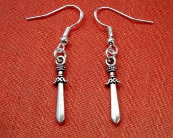 Silver dagger earrings, sterling silver hook, sword earrings