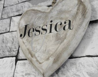 Personalised name wooden heart