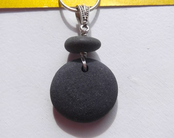 Sweet Round Lake Superior Zen Stone Pebble Pendant Necklace Heather Grey