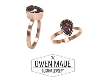 14K Rose Gold Ring with Rhodolite Garnet