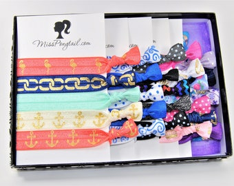 Monthly Subscription of Hair Ties, Subscription Box, Handmade Knotted Soft Stretchy Shiny Elastic Ponytail Holders, Prints & Solids