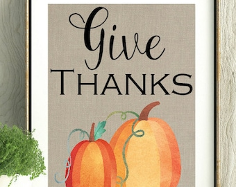 Give Thanks, Thanksgiving Decor, Pumpkins, Pumpkin Art, Pumpkin Decor,Fall Decor,Wall Art, Wall Hanging,Gift for Host, Thanksgiving Memento