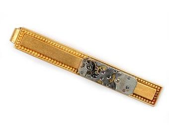 steampunk Vintage Watch Brass Tie Bar Alligator Clip