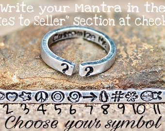 Customize Mantra Ring, Create your own, Inspirational Ring, Custom Inspirational Ring, Customizable Ring, Message inside ring, stamp inside