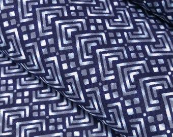 Indigo blue, gray and white cotton yukata fabric - by the yard - abstract diamond pattern