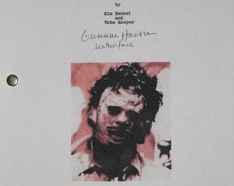The Texas Chain Saw Massacre Signed Film Movie Script Screenplay Leatherface Gunnar Hansen Classic Horror Film Autograph Signature reprint