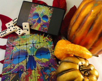 Game-Stock, Puzzinoes™ Dominoes and Puzzle, Custom Dominoes, Custom Puzzle, Skull/Goth