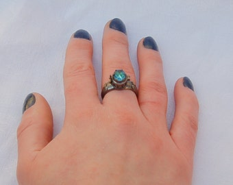 Stunning Gothic Poison ring with secret compartment.   Aquaramine gem.  Most impressive.