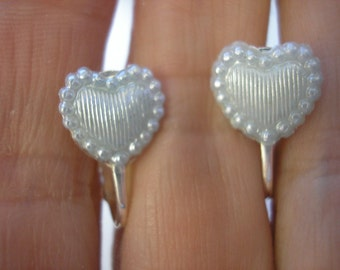 Play Earring - Clip or Pierced - Tiny Heart - Lt Blue Satin - 3/8""