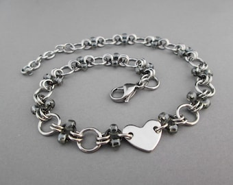 Heart Anklet, Stainless Steel Chainmaille, Beaded Anklet, Chain Ankle Bracelet, Stainless Steel Jewelry, Gunmetal