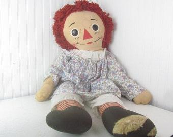 Vintage Raggedy Ann Doll, stuffed doll, Original Raggedy Ann Doll, Knickerbocker Toy Company,
