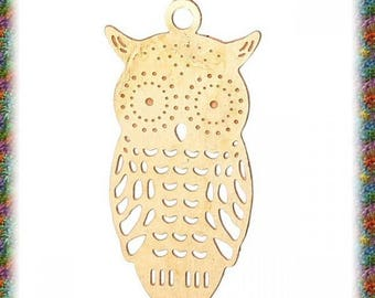 20 small gold filigree OWL charms