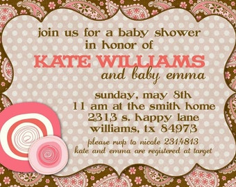 Baby Shower Invitation -- Paisleys and Posies