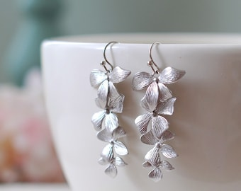 Silver Orchids Earrings Matte Silver Flowers Long Dangle Earrings Wedding Jewelry, Bridal Earrings Bridesmaid Gift Birthday gift for her