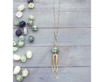 Eaton Necklace ~ Faceted Green Prehnite Crystal Gem Brass Curved Arc Teardrop Gold Chain Long Boho Pendant Gift Made in Philadelphia