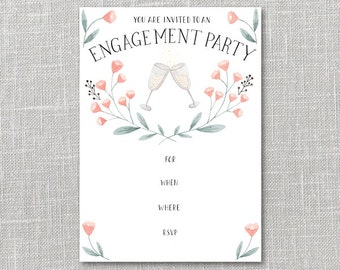 Champagne Engagement Party Invitation Printable Instant Download PDF