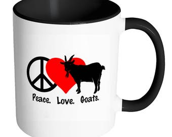 Peace Love Goats - 11 oz or 15oz White Ceramic Coffee Mug - Printed Cup Travel - Lover Owner Pigmy Farm Animals Livestock Fair Cheese Milk
