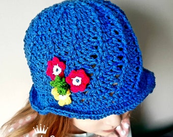 Handmade cloche blue spring bonnet, crochet girl hat  flowers, Baby, toddler