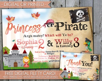 Princess or Pirate Invitation, Princess or Pirate Birthday Invitation, Princess Invitation, Pirate Invitation, Digital File or Printed #505
