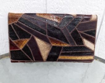 Vintage snake skin  clutch , patchwork  calico colors