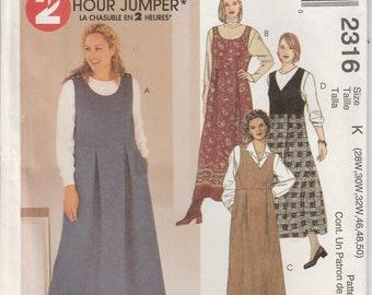 Jumper Pattern Scoop or V Neck Dress Women's Plus Size 28W - 30W - 32W  uncut McCalls 2316 Full Figure
