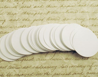 Paper Die Cut Circles  1.5 inch  in  Snowy White Quantity of 50