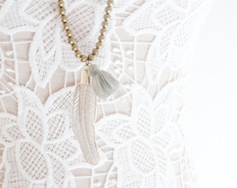 Horn Necklace, Bone Feather Necklace, Fossil Stone Feather Necklace, Boho Necklace, Gold Beaded Necklace, Statement Necklace