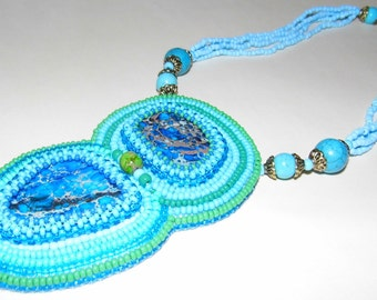 Beaded necklace with natural regalite cabochons / beadwork / bead embroidery / statement necklace / pendant necklace