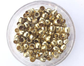 50 Large Brass Beads 7x7mm long with 5mm hole