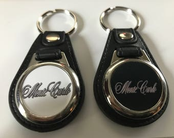 MONTE CARLO KEYCHAIN set 2 pack black and white 1971 1972 1973 1974 1975