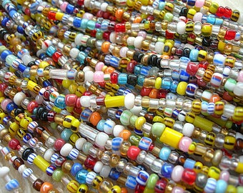 """CLEAR Mix Vintage African Trade Beads AKA Christmas Beads tiny glass seed beads 33"""" strand size 8-10"""