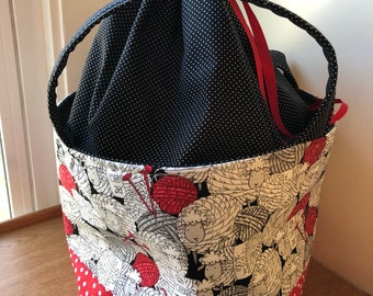 Sweater Project Bag, Sweater Bucket, Extra Large Knitting Bag, Yarn Storage Tote, Extra Large Drawstring Bag, Blanket Project Bag, Huge bag,