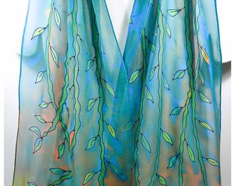 "Bamboo Silk Scarf. Vine silk scarf. 14""x68"". Painted silk scarves. Leaf silk scarf. Hand-painted silk scarves. Hand painted silk scarves"