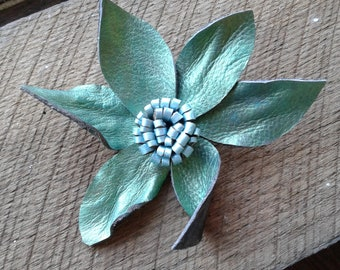Hand Painted Leather Flower Pin-Green/Blue P27