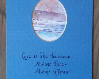 Love is Like the Ocean Calligraphy Matted Art