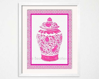 Ginger Jar Art, Pink Watercolor, Geometric Trellis, Greek Key, Chinoiserie Art Print, Hot Pink Wall Art, Hot Pink White Vase