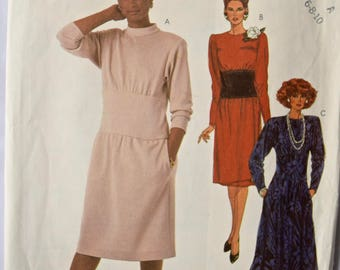 Vintage 1980's Sewing Pattern McCalls 2183 Misses' Dress with Side Seam Pockets Long Tapered Sleeves Wide Waistband UNCUT FF Size 6-8-10