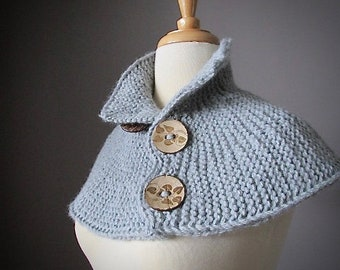 Chunky knit winter scarf in Gray with coconut buttons, Women scarves