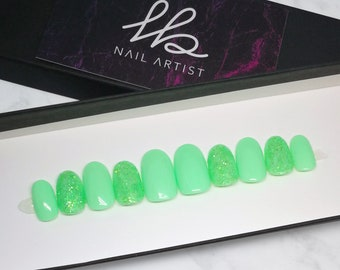 PRESS-ON NAILS Misty Mint | Reusable | False Nails | Fake Nails | Artificial Nails | Glue-on | Green | Mint | Glitters | Glossy |