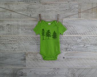 Tree Onesie, Nature Lover, Short Sleeve, Organic Cotton, Organic Onesie, Baby Shower, One Piece, Boy Girl, Baby Gift, Forest, Woodland