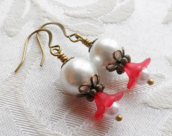 75% Off Clearance Sale, Lily Blossom Earrings, Antique Brass, Faux Pearl, Red,White