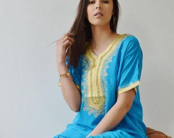 Autumn Dress Turquoise Resort Caftan Kaftan- winter dress, Resort Kaftan, beach coverup,loungewear, maxi dresses, birthdays, Ramadan, Eid