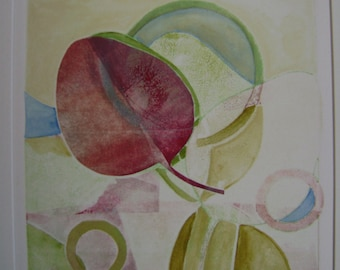 leaf prism monotype print with acrylic
